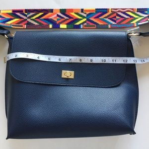 Handbags - Vegan Leather Navy Purse with Colourful Strap